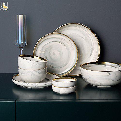 Marble Swirl Gold Trim Dinnerware For 2