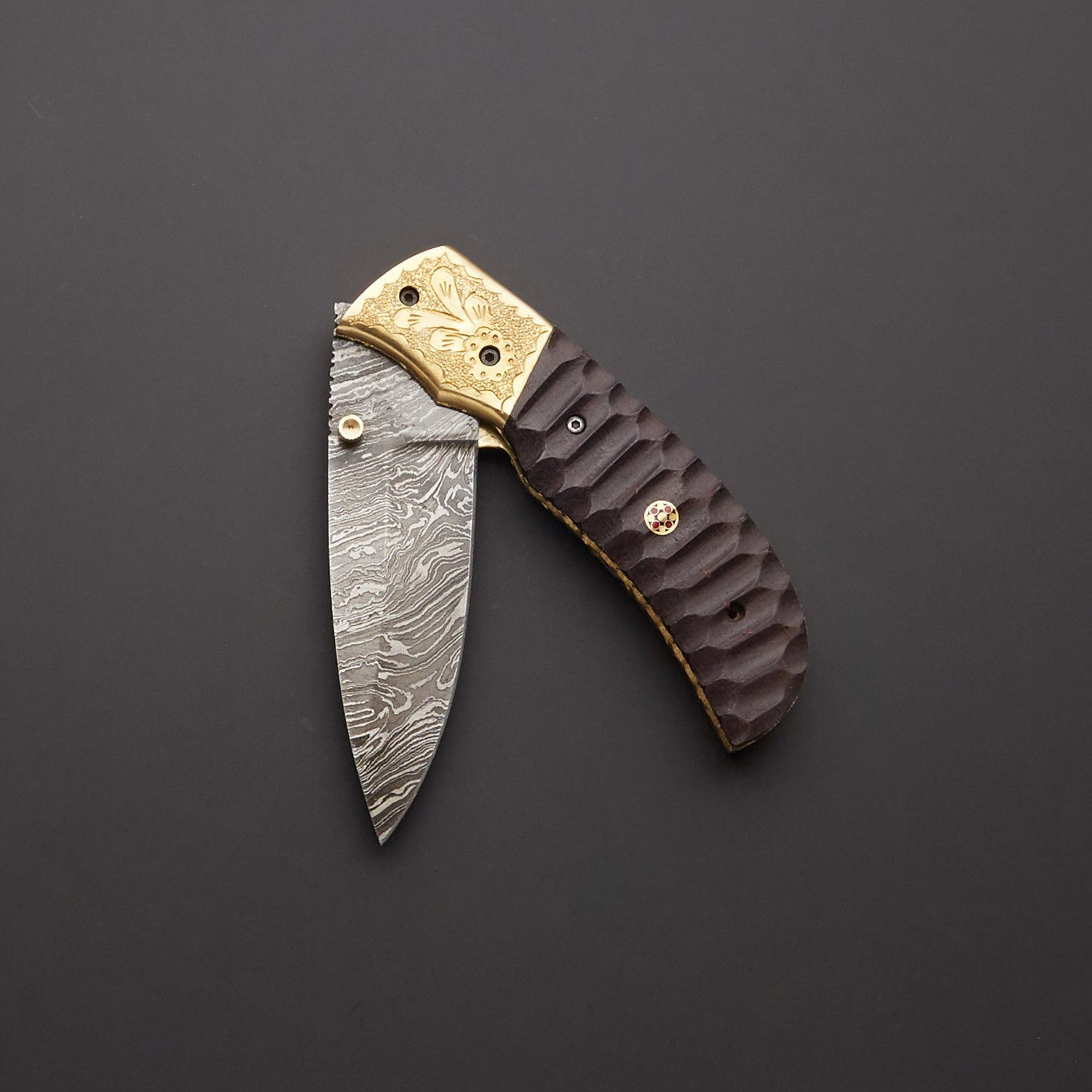 CUSTOM MADE DAMASCUS STEEL FOLDING/POCKET KNIFE + POUCH