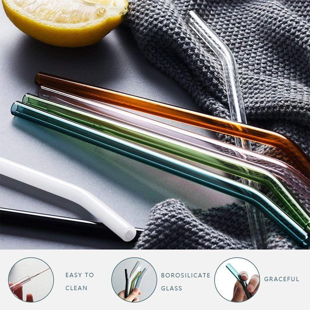 8 Color Glass Straws 8 Reusable and Eco Friendly Straws