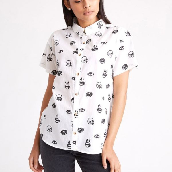Morning Glory Casual Button-Up Top