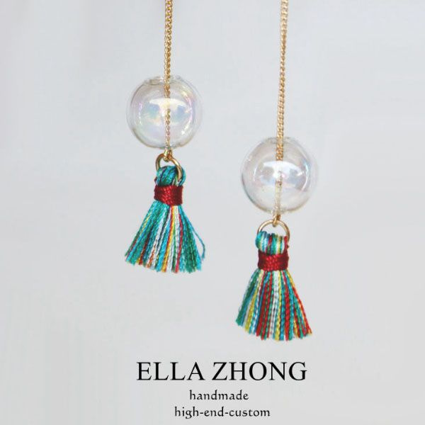 Iridescent Bubble Tassel Earrings