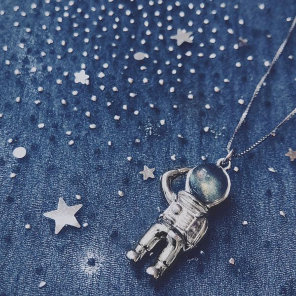 Moonstone Astronaut Necklace