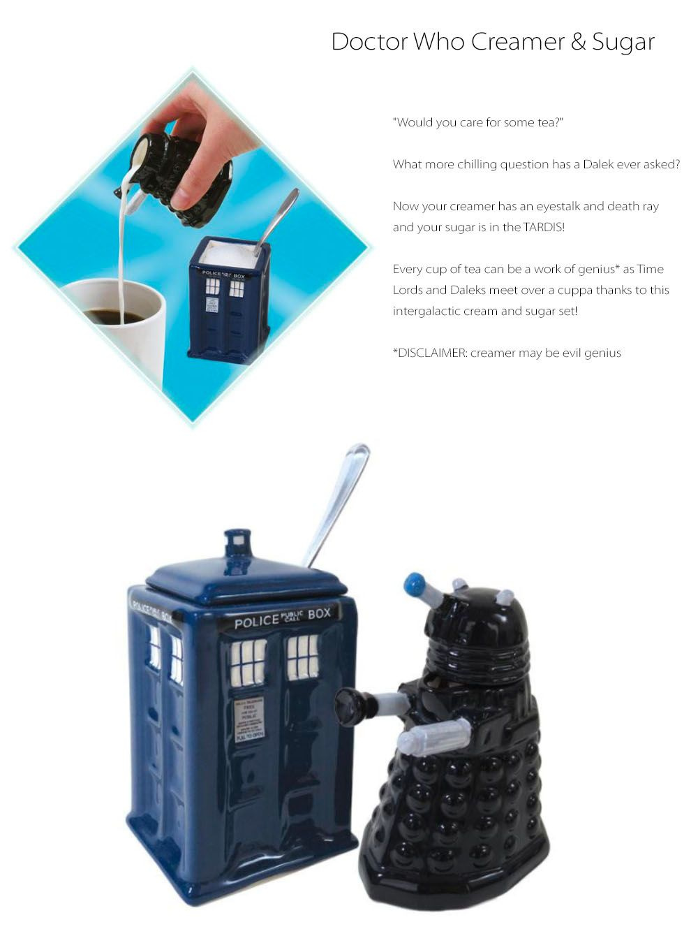 Doctor Who Creamer & Sugar Containers Set Tea Party Time