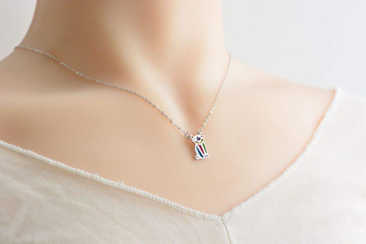 Colorful Deer Silver Necklace necklace