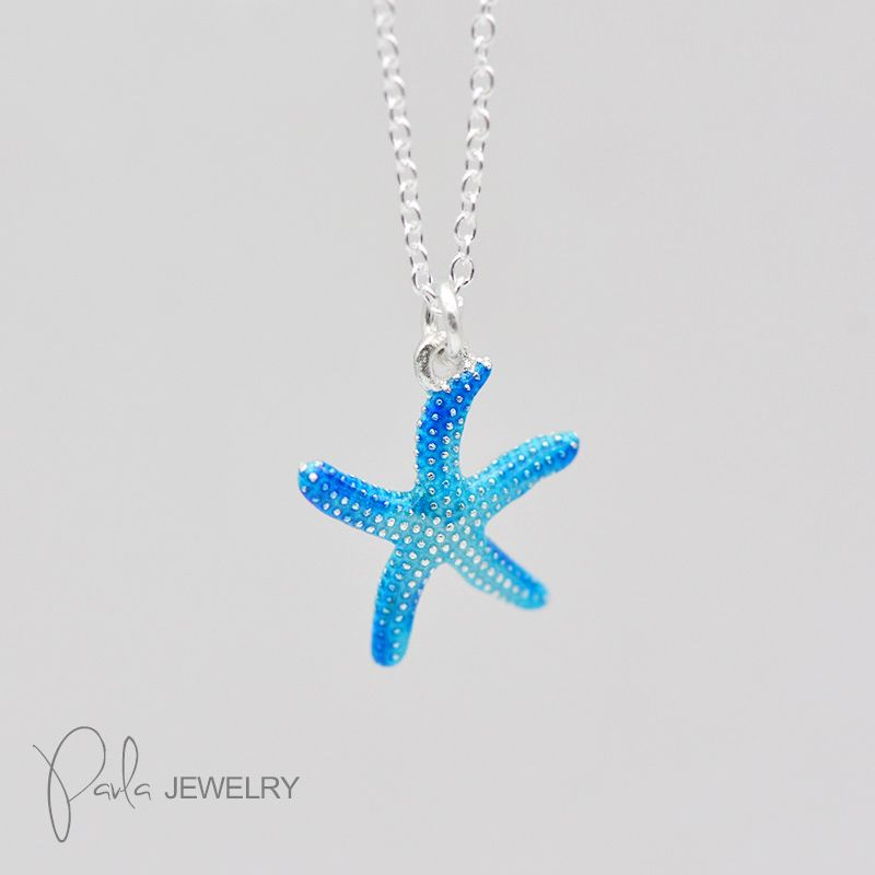 Blue Starfish Necklace/Earrings