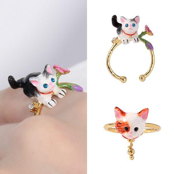 Hand-Enameled Cat Ring