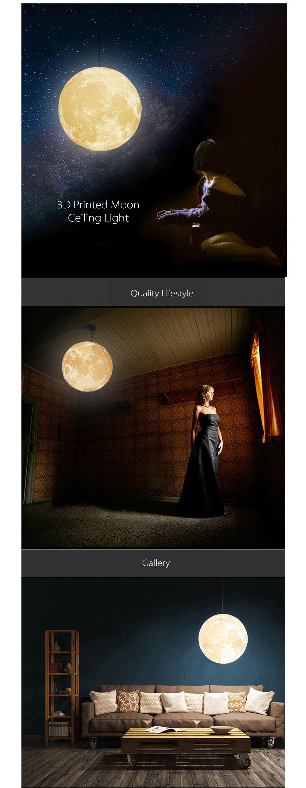 3D Printed Moon Pendant Light Romantic Moonlight