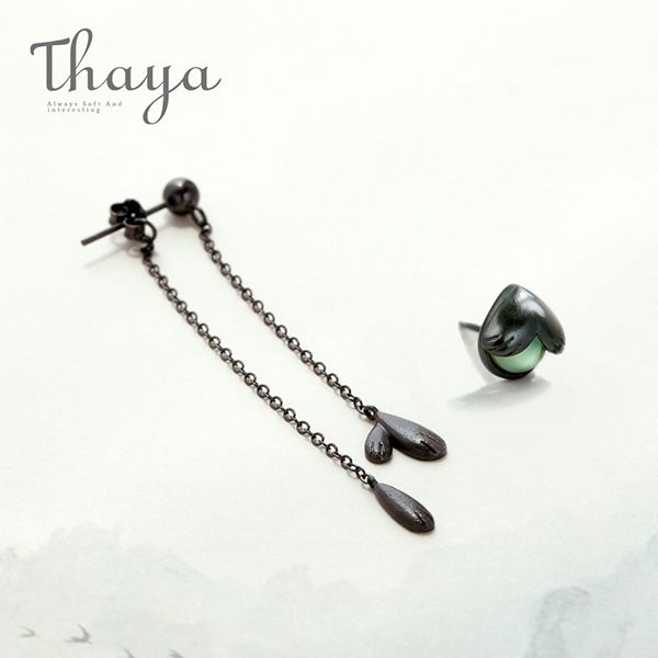 Thaya Firefly Stud Earrings Green Crystal Gemstone Black Asymmetrical Jewelry