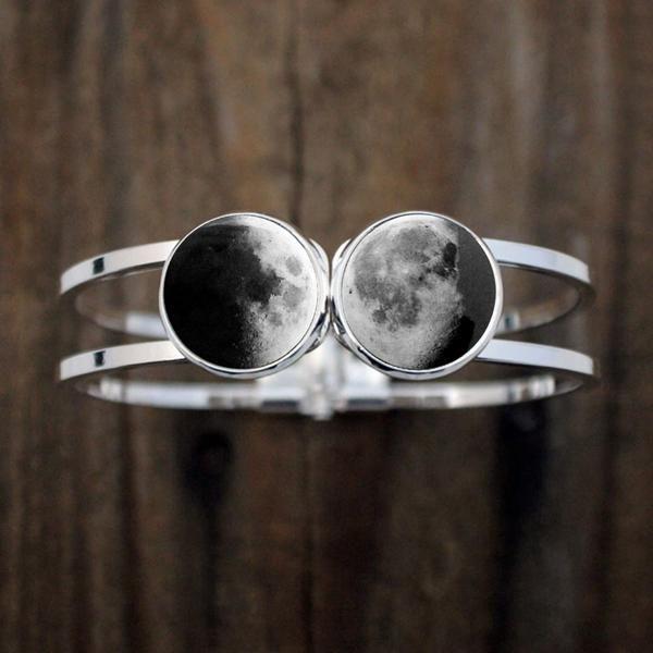 2 Birth Moon Hinged Cuff Bracelet