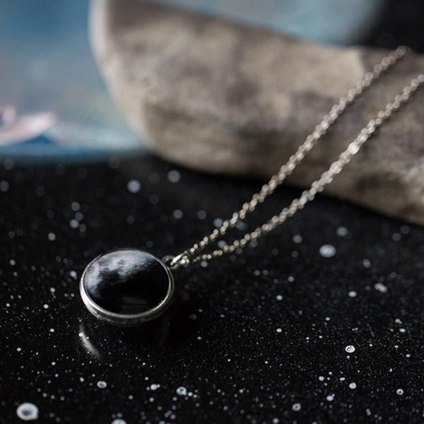 Double Sided Birth Moon Necklace Customized moon phase from your important date!