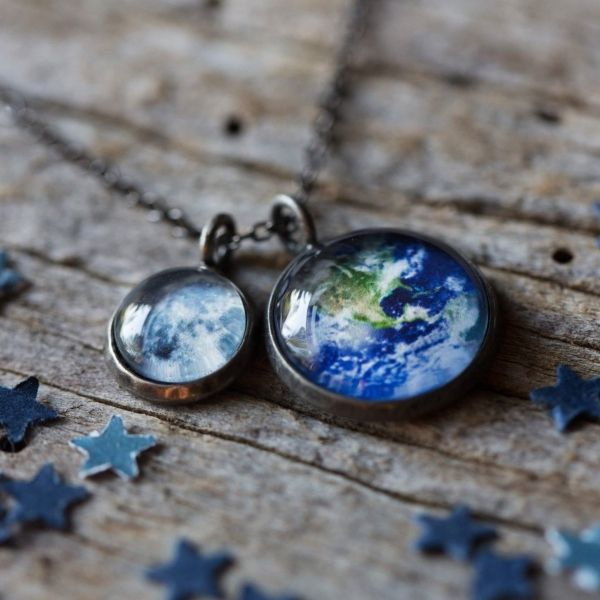 Earth and Moon Layered Space Necklace