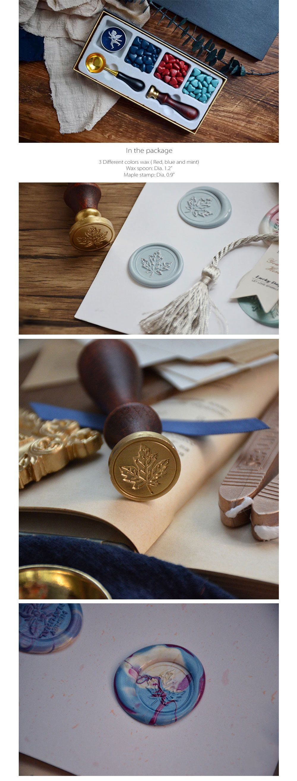 Maple Wax Seal Stamp Set Vintage Design