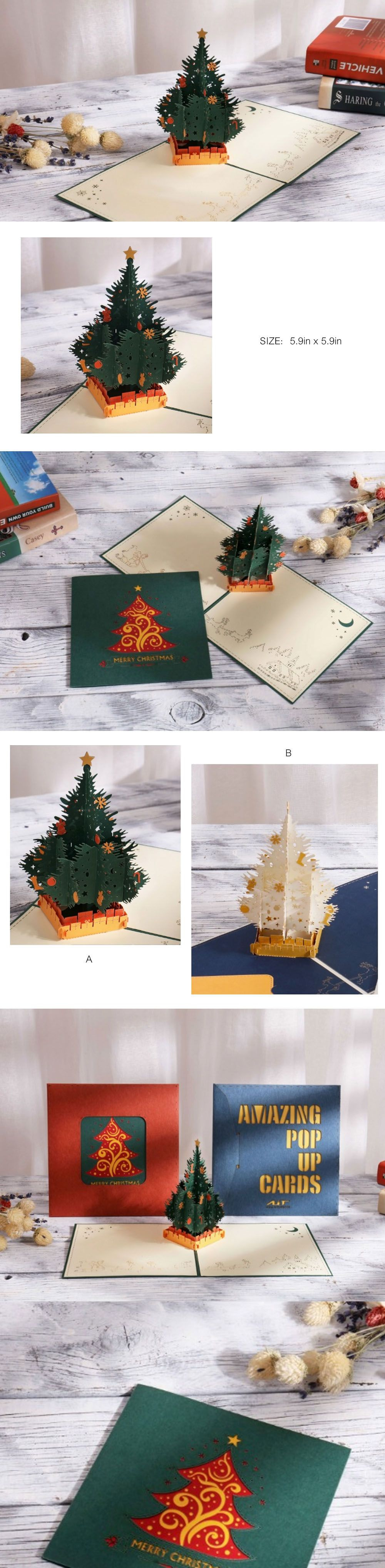 AIT Christmas Tree Greeting Card 3D Pop Up Card