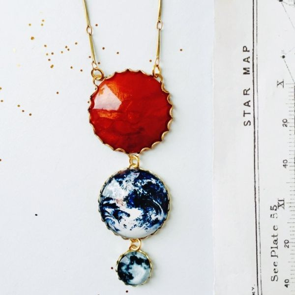 Sun Earth And Moon Necklace