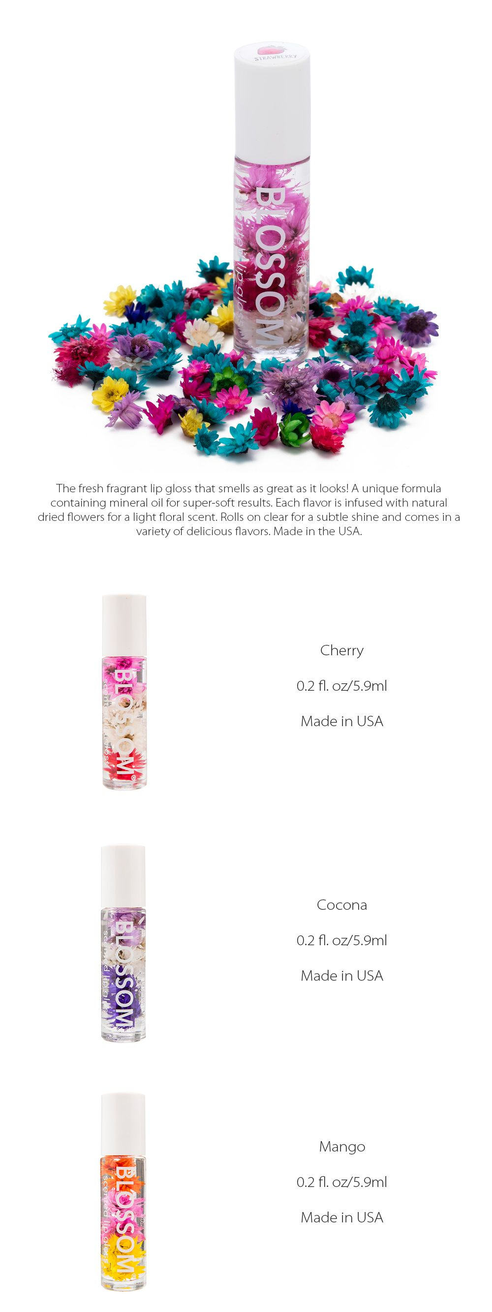 Blossom Scented and Flavored Moisturizing Roll-on Lip Gloss Fresh Fragrant Lip Gloss