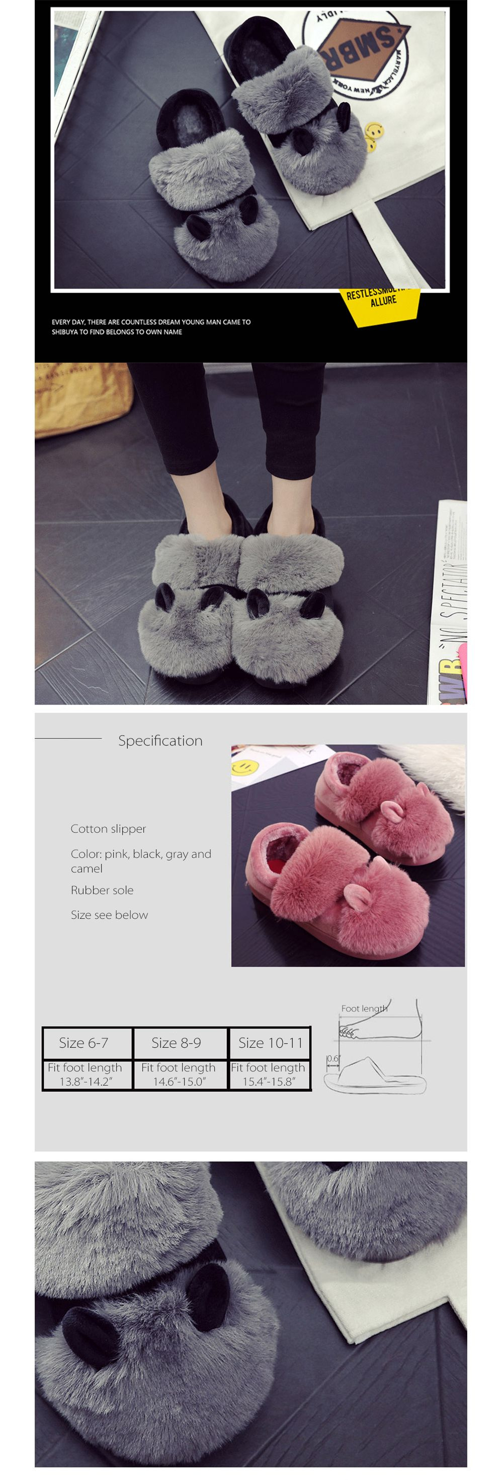 Winter Cotton Non-slip Warm Fur Slippers Warm & Cozy