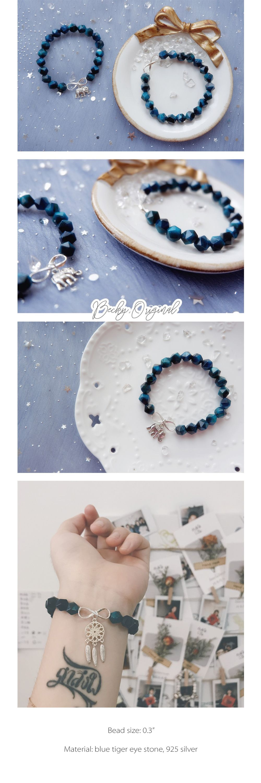 Blue Tiger Eye Crystal Bracelet Elephant Charm