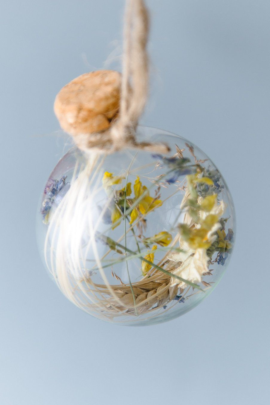 """Prosperous"" Holiday Orb with real wheat, straw and natural glass"