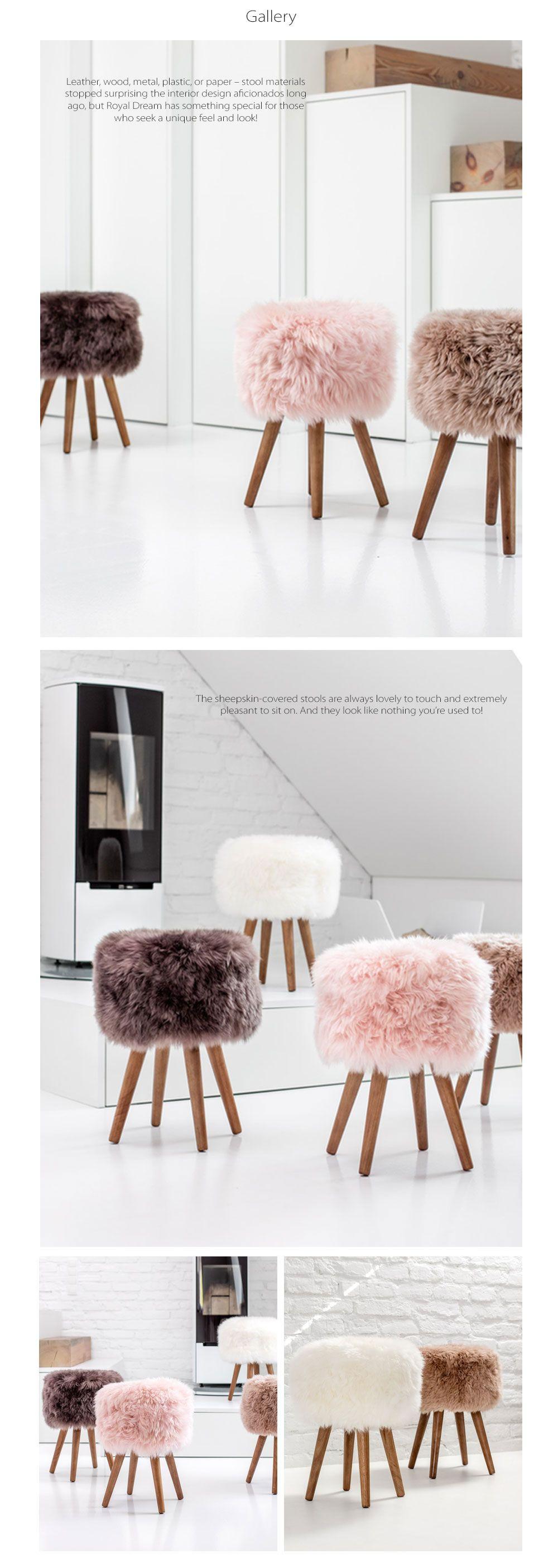 New Zealand Sheepskin Stool Trendy Accent Seating