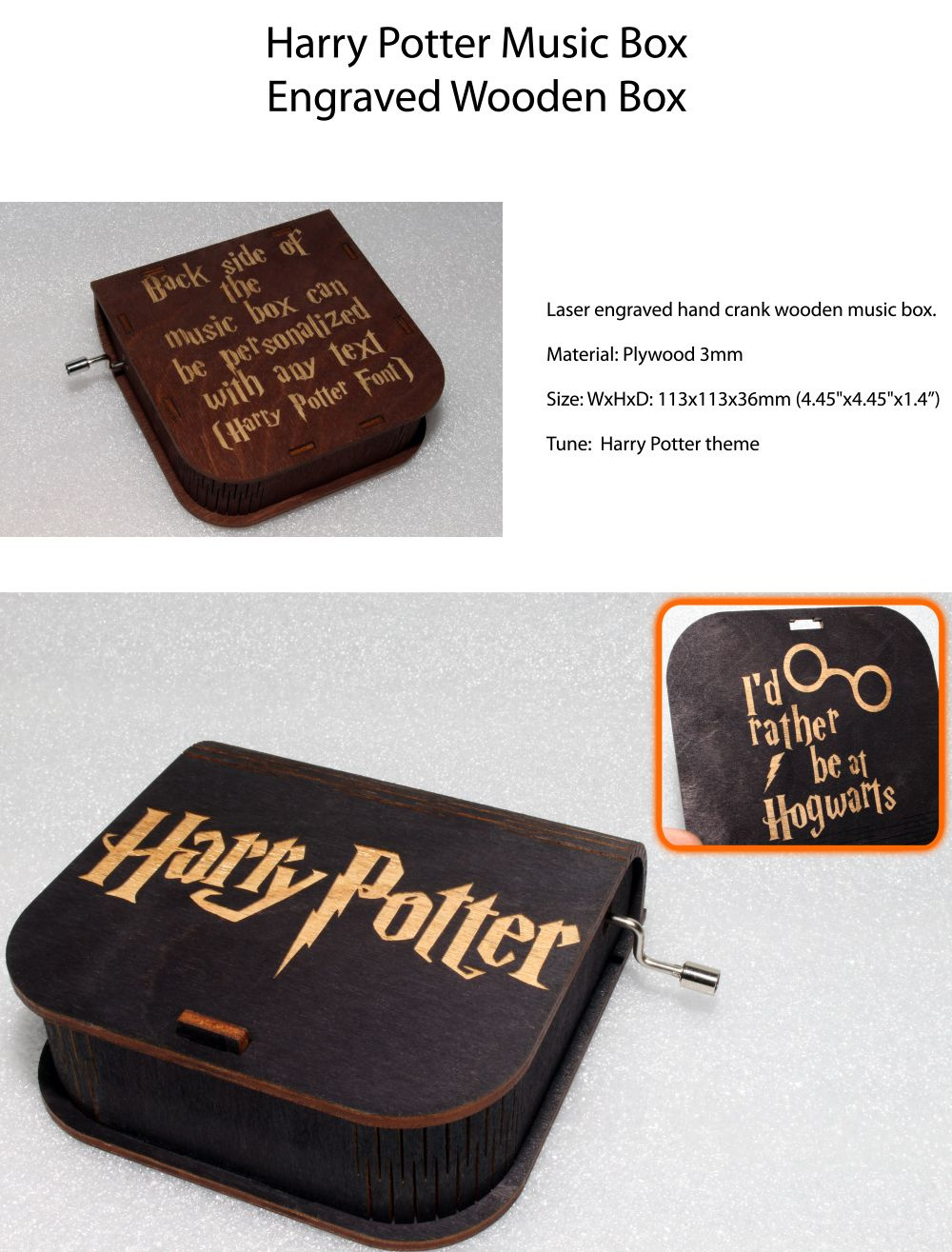 Harry Potter Music Box - I'd Rather Be At Hogwarts Plays Harry's Wondrous World