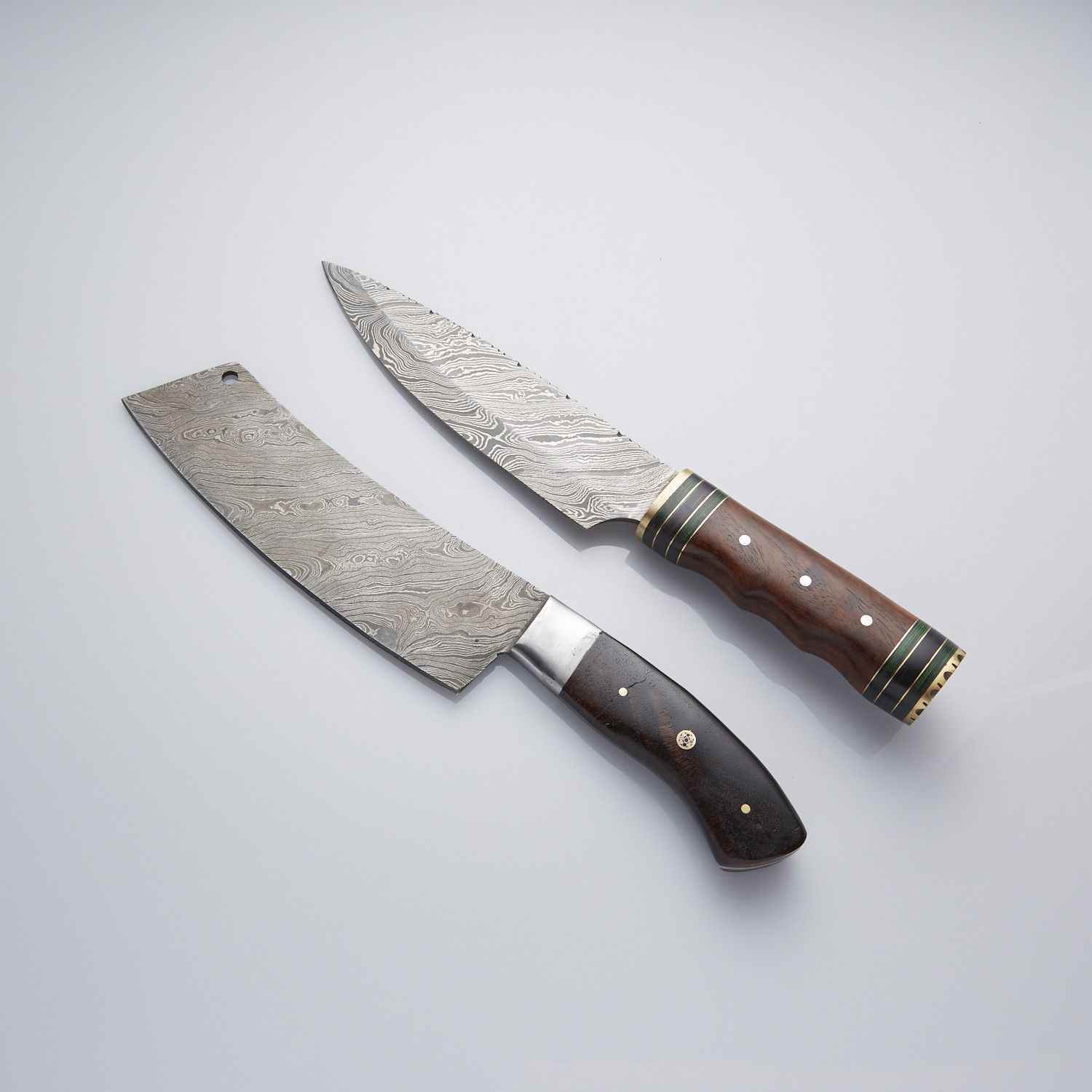 Custom Made Damascus Rose Wood Kitchen Chef Knives