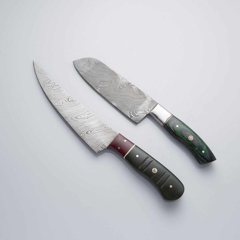 GREEN WOOD + MICARTA + STAINLESS STEEL BOLSTER // SET OF 2