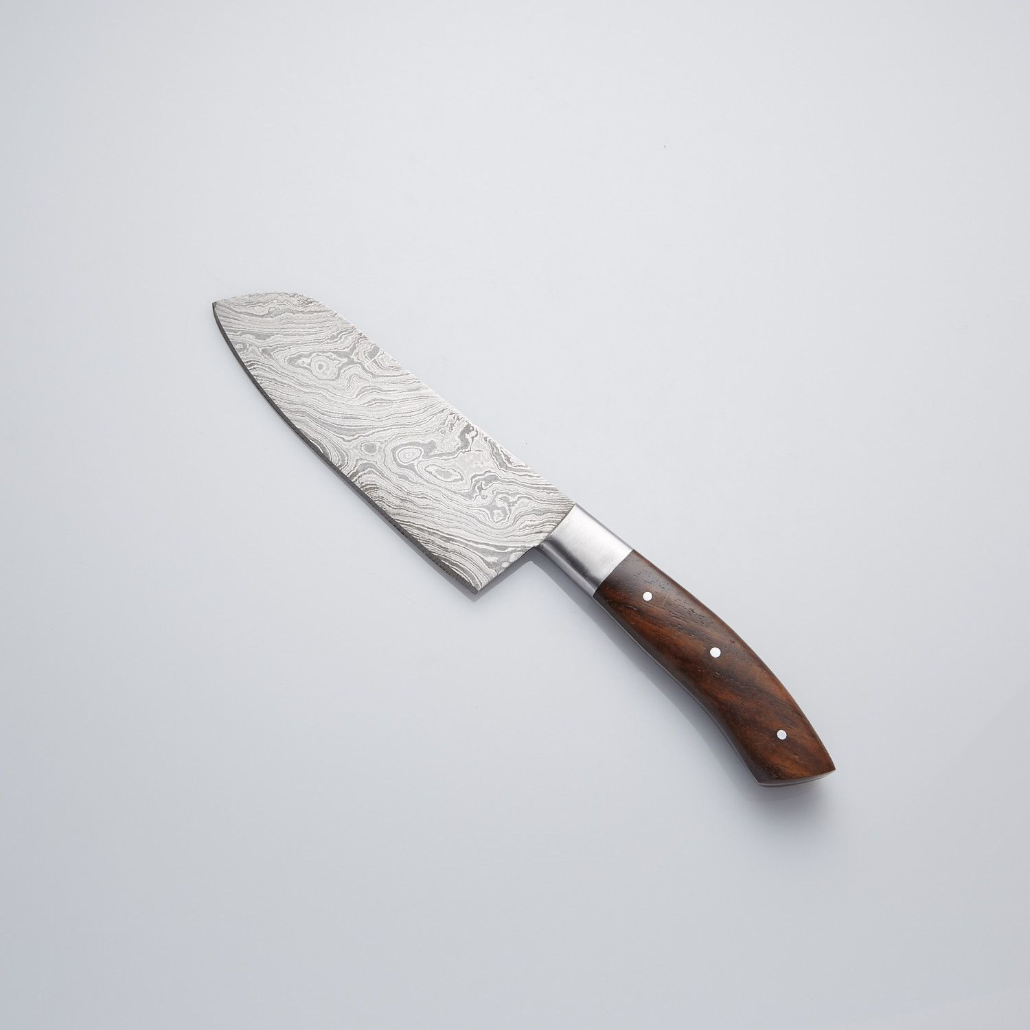 ROSE WOOD + STAINLESS STEEL BOLSTER KITCHEN CHEF KNIFE