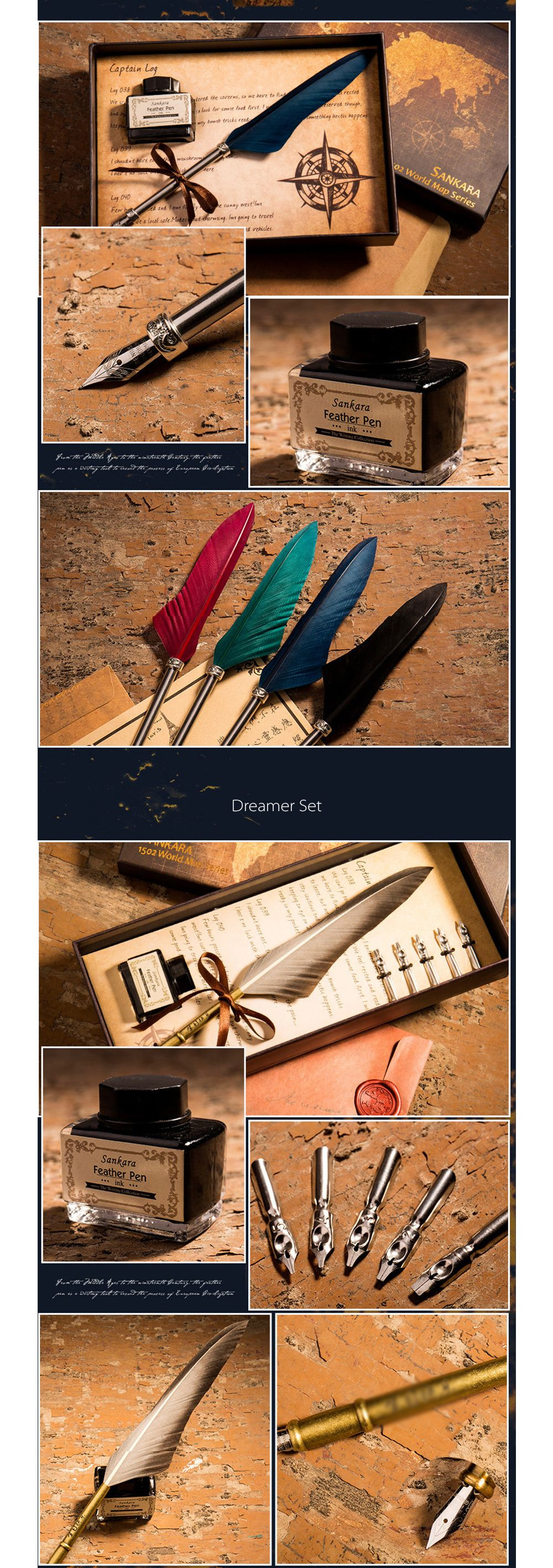Feather Dip Pen Gift Set Genuine Goose Feather Quill