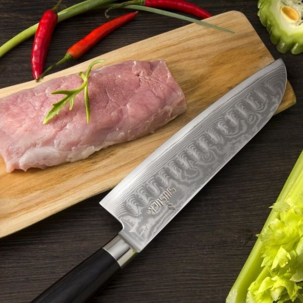 Damascus Stainless Steel Santoku Knife With Classic Waves