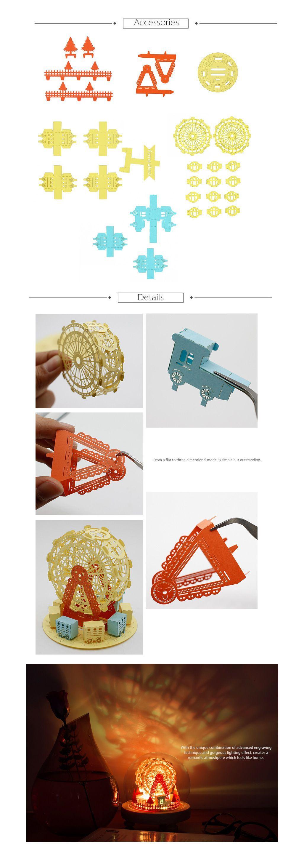 DIY Ferris Wheel Night Light Kit Exquisite 3D Paper Art