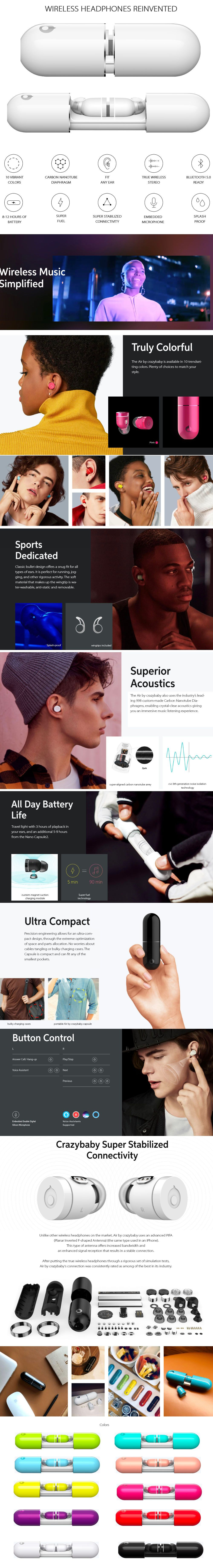 The Air by Crazybaby  NANO Earbuds Truly Colorful