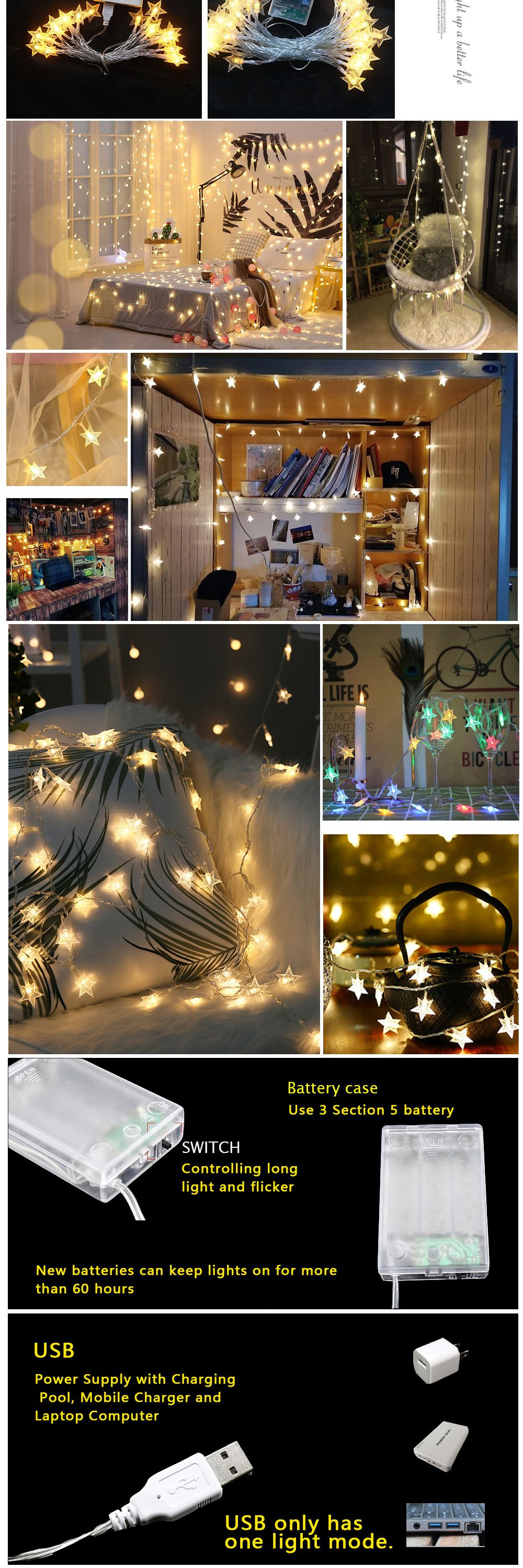 Stars LED String Lights Holiday Decorating