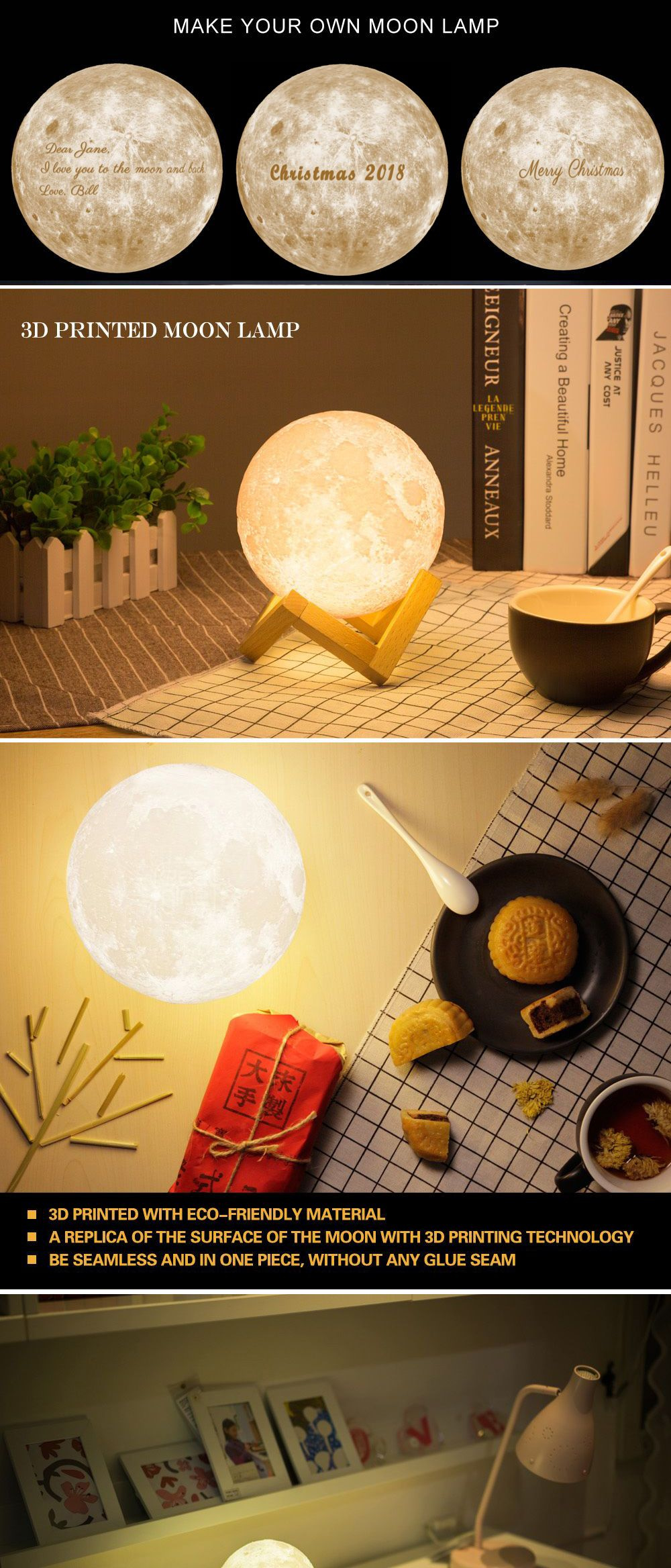 Personalized Moon Lamp Hi-Tech Lunar Magic, Personal Customization