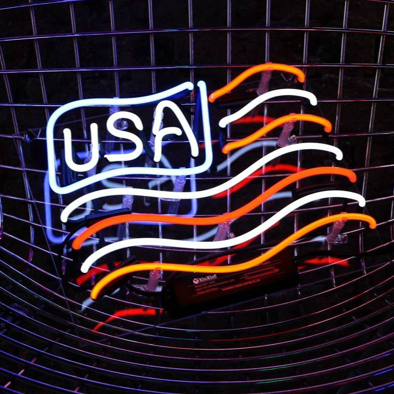 Handmade US Flag Man Cave Neon Sign