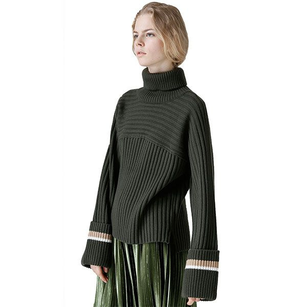TOYOUTH Contrast Rib-Knit Sweater