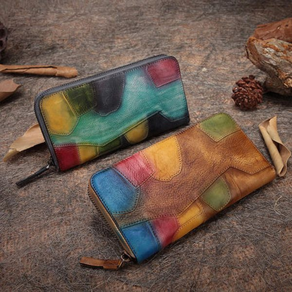 Leather Patch Zipper Wallet