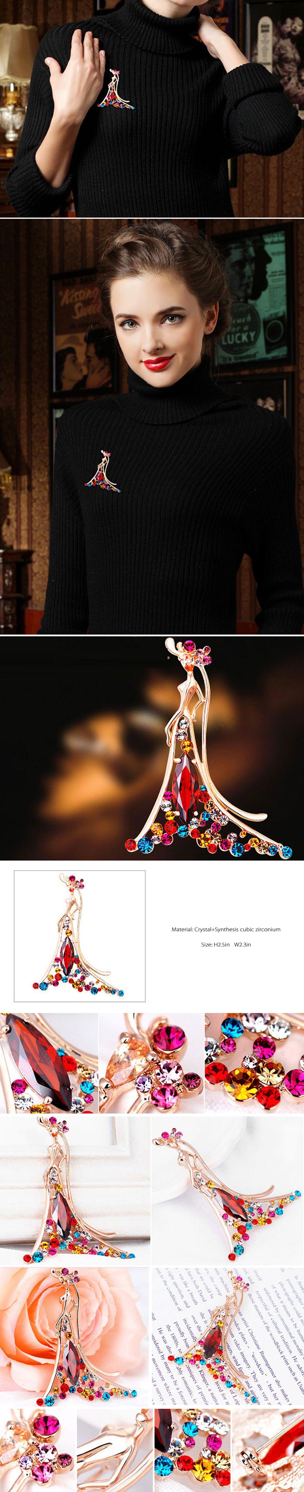 Beauty of Flame Brooch Fancy Crystal Brooch