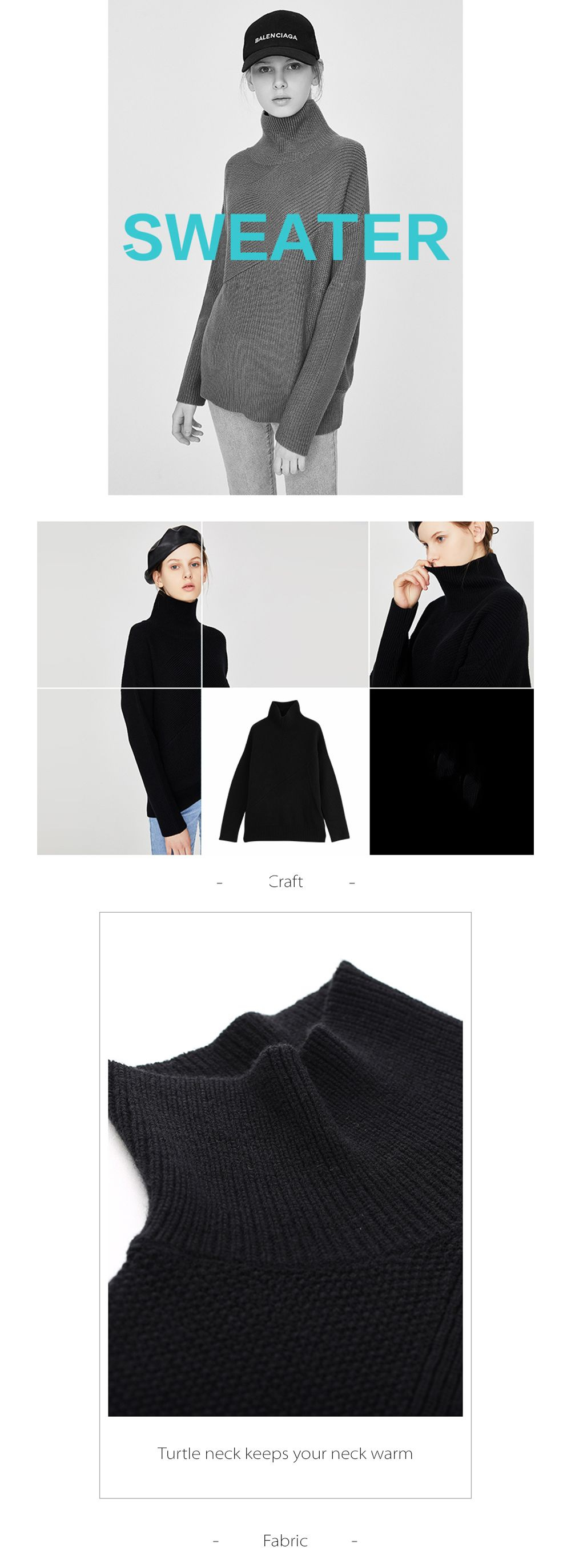 Wool Loose Oversized Sweater Loose and smooth