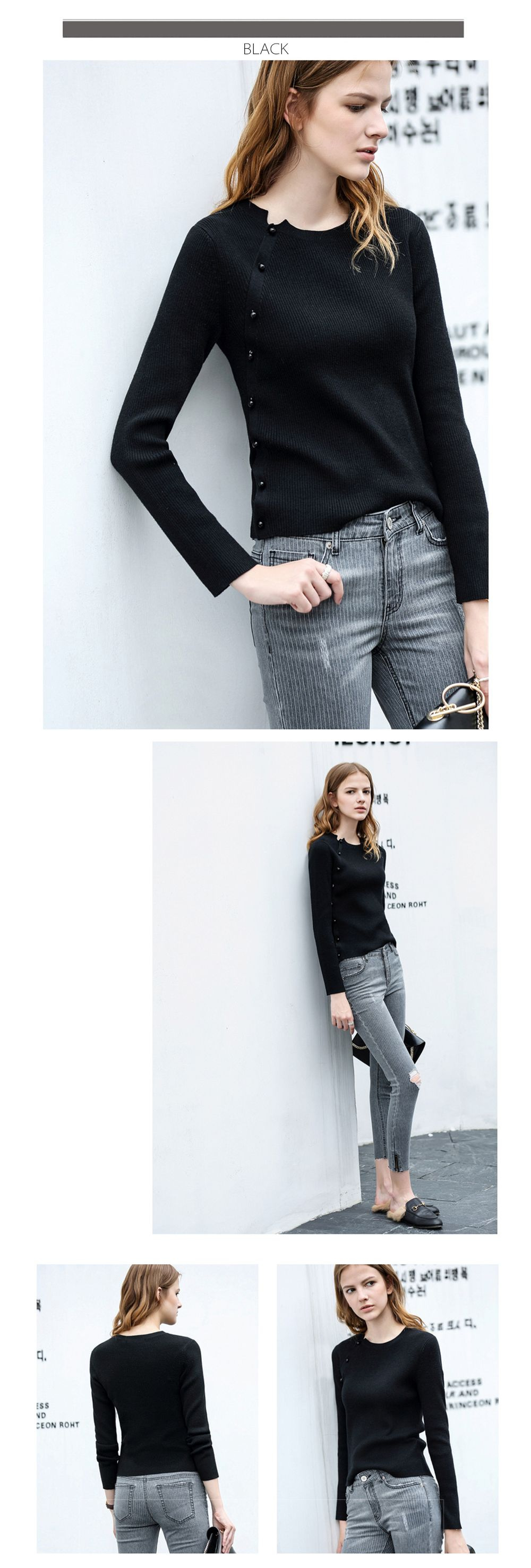 Beads Women Knitted Sweater Minimalist Design